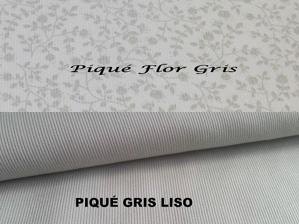 Piqué Gris y Flor Gris